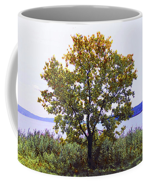 Nature Coffee Mug featuring the photograph One Tree Hudson River View by Roger Bester