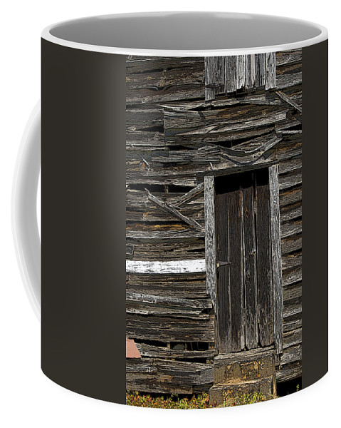 Old Barn Coffee Mug featuring the photograph One White Board by Shirley Sykes Bracken