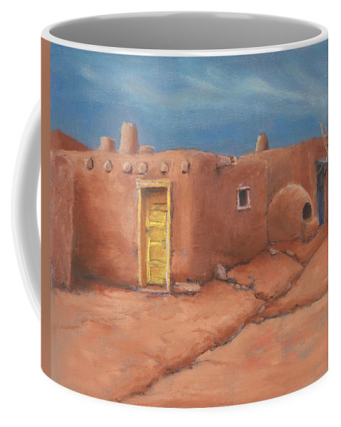 Taos Coffee Mug featuring the painting One Yellow Door by Jerry McElroy