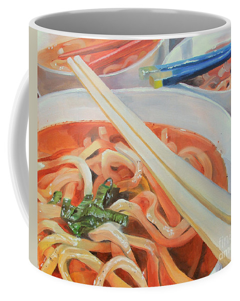 Noodles Coffee Mug featuring the painting Oodles And Noodles, 2017 by Elizabeth Shaji