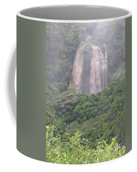 Mary Deal Coffee Mug featuring the photograph Opaekaa Falls On Kauai During A Storm by Mary Deal