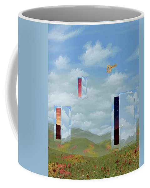 Surreal Landscape Coffee Mug featuring the painting Open Doors by Jon Carroll Otterson
