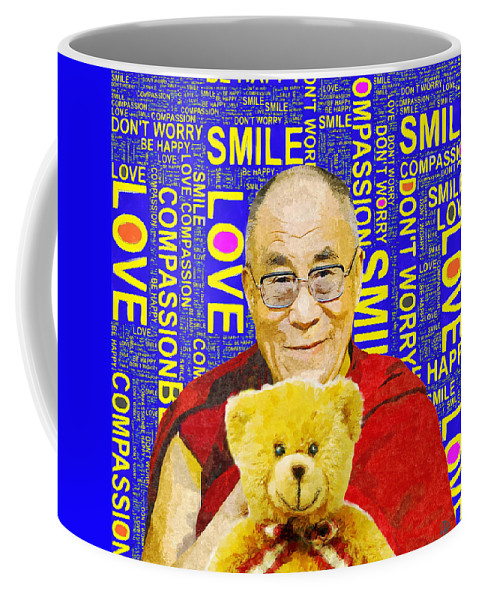 Dalai Lama Coffee Mug featuring the mixed media Open Heart, Open Mind - Royal Blue by Stacey Chiew