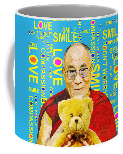 Dalai Lama Coffee Mug featuring the mixed media Open Heart, Open Mind - Sky Blue by Stacey Chiew