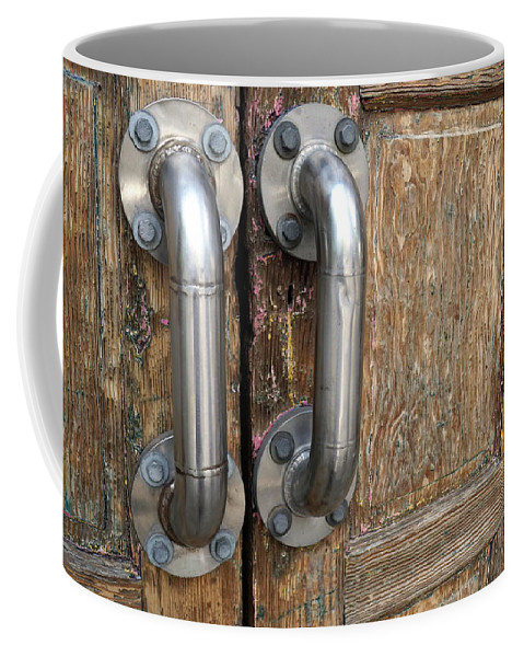 Door Coffee Mug featuring the photograph Open Me by Kathy Barney