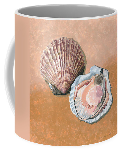 Scallop Coffee Mug featuring the painting Open Scallop by Dominic White