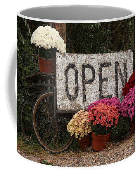 Mums Coffee Mug featuring the photograph Open Sign With Flowers Fine Art Photo by James BO Insogna