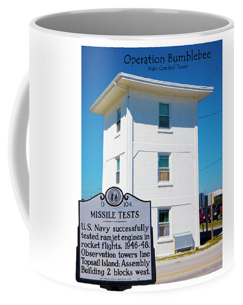 Topsail Island Coffee Mug featuring the digital art Operation Bumblebee Control Tower by Betsy Knapp