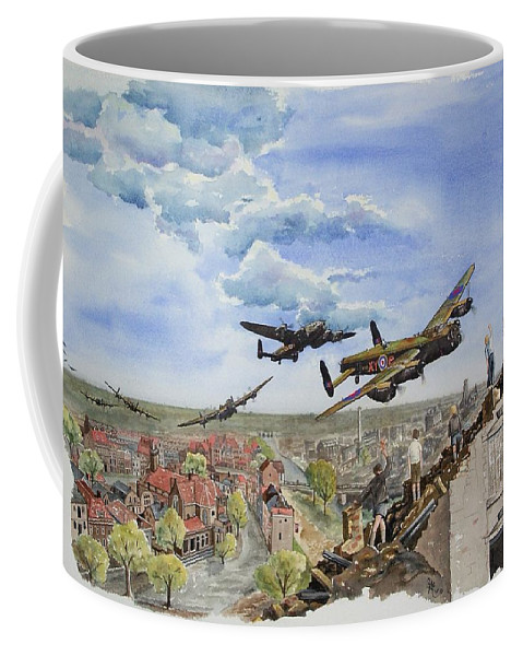 Lancaster Bomber Coffee Mug featuring the painting Operation Manna I by Gale Cochran-Smith