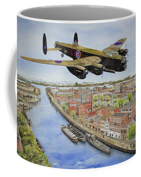 Lancaster Bomber Coffee Mug featuring the painting Operation Manna II by Gale Cochran-Smith