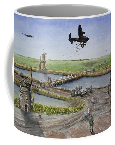Lancaster Bomber Coffee Mug featuring the painting Operation Manna IIi by Gale Cochran-Smith