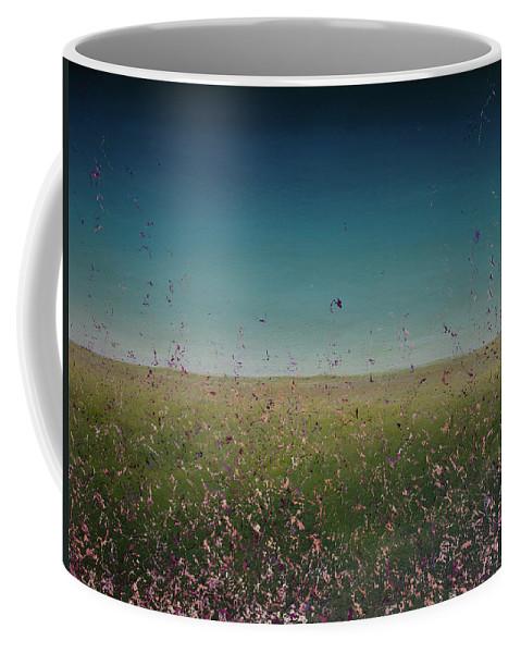 Derek Kaplan Art Coffee Mug featuring the painting Opt.35.16 La Robleda by Derek Kaplan