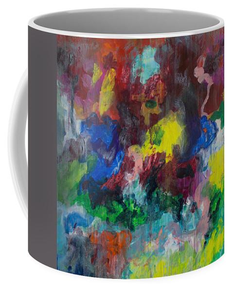 Derek Kaplan Art Coffee Mug featuring the painting Opt.68.15 Dreaming With Music by Derek Kaplan