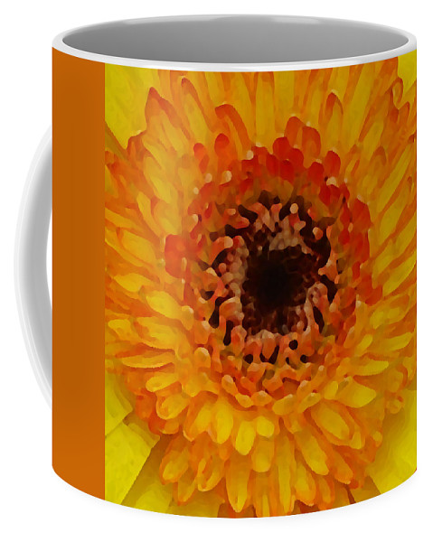 Daisy Coffee Mug featuring the painting Orange And Black Gerber Center by Amy Vangsgard