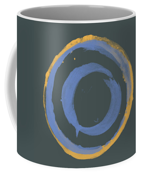 Orange Coffee Mug featuring the painting Orange And Blue1 by Julie Niemela