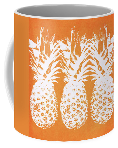 Pineapple Coffee Mug featuring the painting Orange and White Pineapples- Art by Linda Woods by Linda Woods