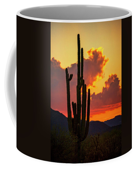 Saguaro Sunset Coffee Mug featuring the photograph Orange Beautiful Sunset by Saija Lehtonen