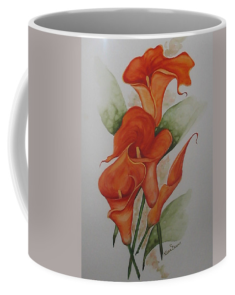 Floral Orange Lily Coffee Mug featuring the painting Orange Callas by Karin Dawn Kelshall- Best