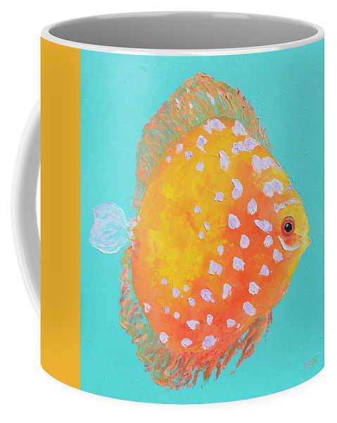 Fish Coffee Mug featuring the painting Orange Discus Fish With Purple Spots by Jan Matson