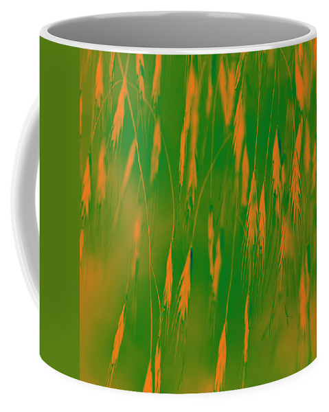 Grass Coffee Mug featuring the photograph Orange Grass Spikes by Heiko Koehrer-Wagner