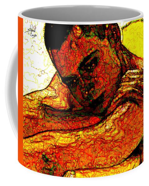 Man Coffee Mug featuring the digital art Orange Man by Stephen Lucas