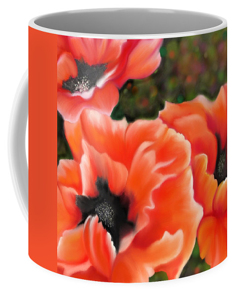 Poppies Coffee Mug featuring the painting Orange Poppies by Sand And Chi