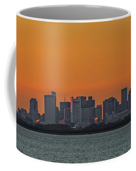 Orange Sky During Sunset With The Boston Skyline Coffee Mug featuring the photograph Orange Sky During Sunset With The Boston Skyline by Brian MacLean