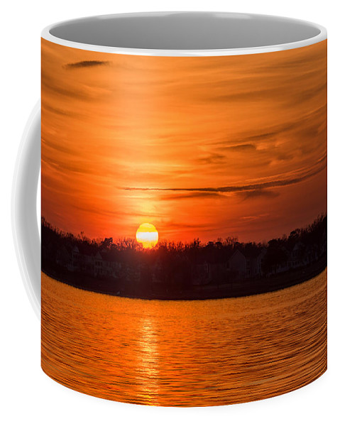 Terry D Photography Coffee Mug featuring the photograph Orange Sunset Sky Island Heights Nj by Terry DeLuco
