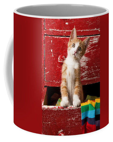 Kitten Coffee Mug featuring the photograph Orange tabby kitten in red drawer by Garry Gay