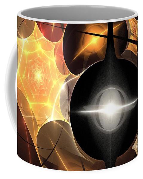 Apophysis Coffee Mug featuring the digital art Orange Web by Kim Sy Ok