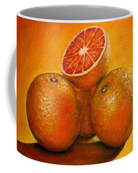 Oranges Coffee Mug featuring the painting Oranges Original Oil Painting by Natalja Picugina