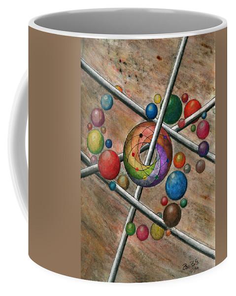 Orbital Ker Plunk Coffee Mug featuring the drawing Orbital Ker Plunk by Peter Piatt