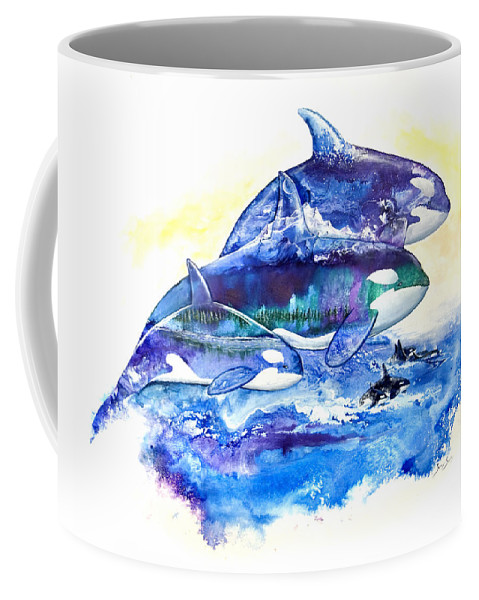 Orca Coffee Mug featuring the painting Orca Fantasy by Sherry Shipley