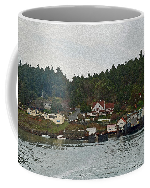 Orcas Coffee Mug featuring the photograph Orcas Island Dock by Carol Eliassen