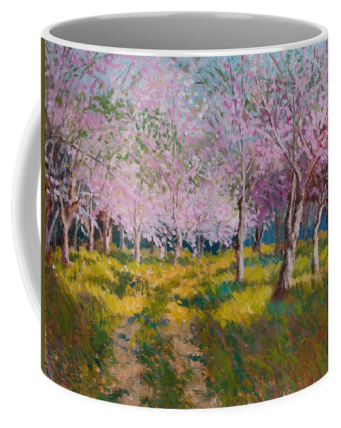 Impressionism Coffee Mug featuring the painting Orchard Light by Keith Burgess