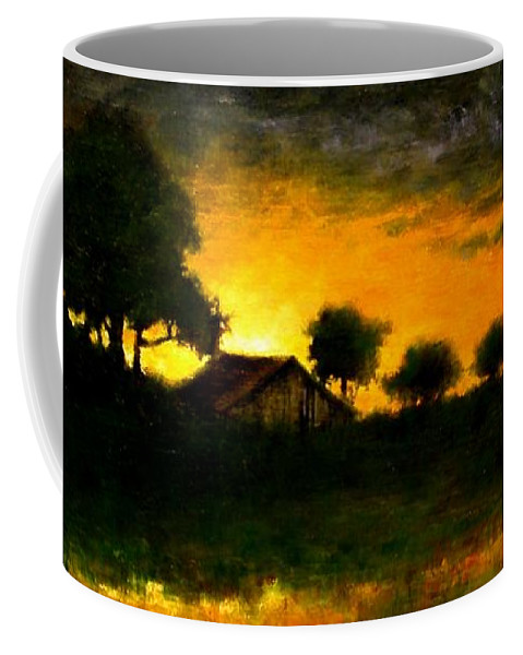 Painting Coffee Mug featuring the painting Orchard Sundown by Jim Gola