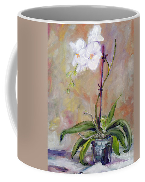 Coffee Mug featuring the painting Orchid In White 3 by Frank Hoeffler