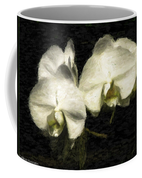 Flower Coffee Mug featuring the digital art Orchid In White by Ches Black