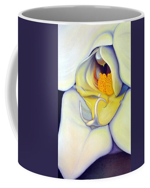 Orchid Coffee Mug featuring the painting Orchid Mouth by Anni Adkins