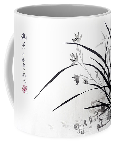 Orchid Coffee Mug featuring the painting Orchid Nobility by Birgit Moldenhauer
