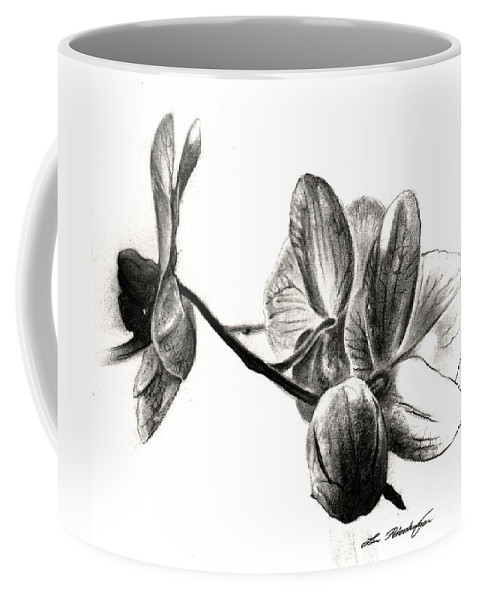 Lin Petershagen Coffee Mug featuring the drawing Orchids In Black by Lin Petershagen