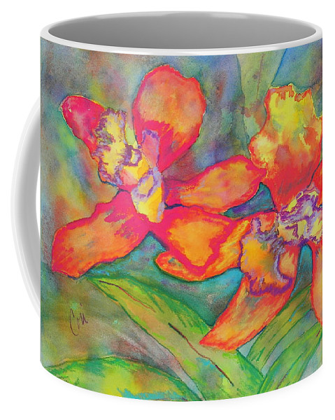 Flowers Coffee Mug featuring the painting Orchids In Paradise by Cori Solomon