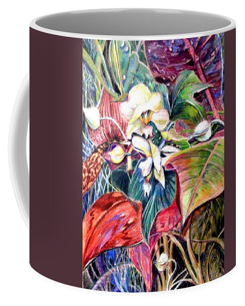 Valentines Coffee Mug featuring the drawing Orchids In White by Mindy Newman