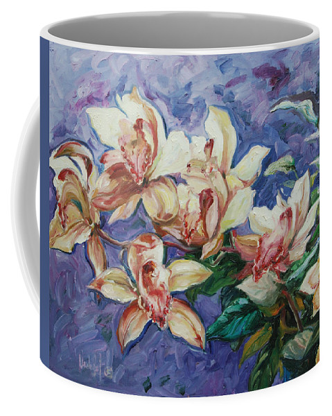 Flowers Coffee Mug featuring the painting Orchids by Rick Nederlof