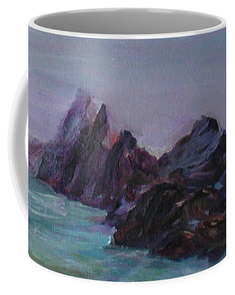 Impressionism Coffee Mug featuring the painting Oregon Coast Seal Rock Mist by Quin Sweetman