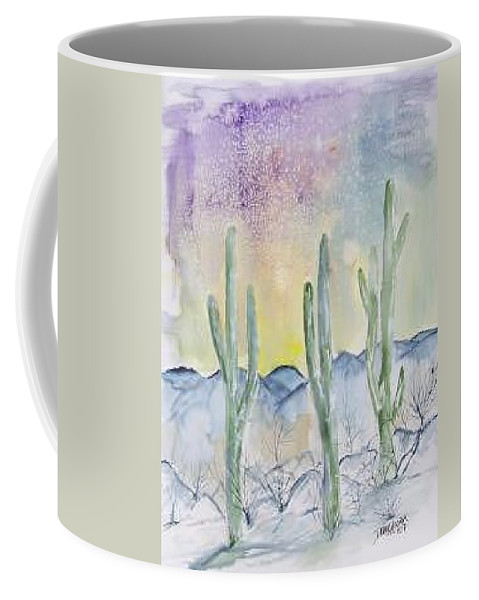 Impressionistic Coffee Mug featuring the painting Organ Pipe Cactus desert southwestern painting poster print by Derek Mccrea