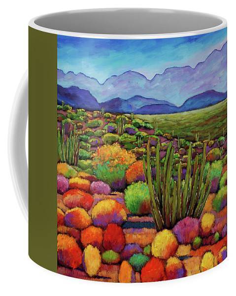 Desert Landscape Coffee Mug featuring the painting Organ Pipe by Johnathan Harris