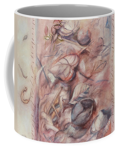 Shells Coffee Mug featuring the painting Organic Co-existence by Kerryn Madsen-Pietsch