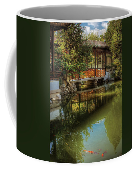 Savad Coffee Mug featuring the photograph Orient - Bridge - The Chinese Garden by Mike Savad