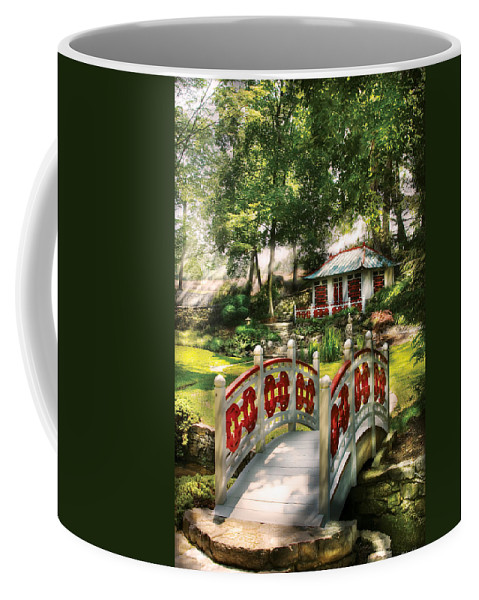 Savad Coffee Mug featuring the photograph Orient - Bridge - The Bridge To The Temple by Mike Savad
